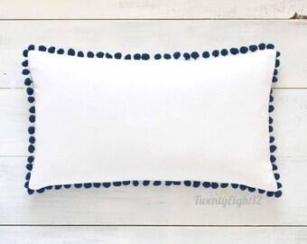 """White Cotton & Navy Blue Pom Pom Lumbar Pillow Cover - Linen Look - 12"""" x 20"""" - Decorative Pillow, Throw Pillow, Pom Pom Pillow Cover"""