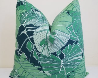 Green Palm leaves Pillow Cover- Decorative Pillow Cover - Accent Cushion-  - Toss Pillow -Euro Sham - Lumbar