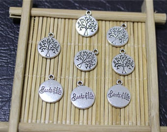 20 round pendant charms beads of life antique silver plated tree of life