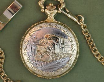 Train Pocket Watch • by Embassy • Date Window • Quartz • Free Shipping!   • Working and Ready for Use