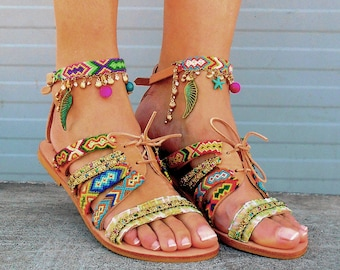 Gladiator Boho Sandals, Greek Sandals, Friendship Strappy Sandals ''Maliboo''