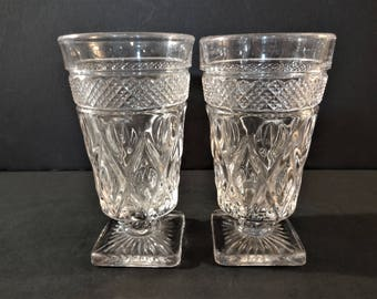"""Vintage Imperial Glass """"Cape Cod"""" Iced Tea Glass - Set of 2 - Early American Pattern Glass - EAPG Stemmed Tumbler"""
