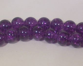 10 glass Crackle beads purple 8mm
