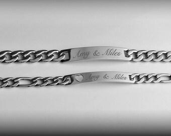 Personalized Silver Couples Bracelet Set Custom, Engraved Name Bracelets, Couple's Bracelets
