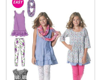 GIRLS Dresses, Leggings and Scarf Pattern by McCall's Easy, M 6275 Size 10 1/2, 12 1/2, 14 1/2, 16 1/2