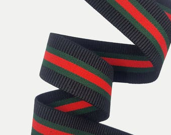 Striped Elastic Rubber Gucci inspired Ribbon Trim, Red Green striped Rubbed