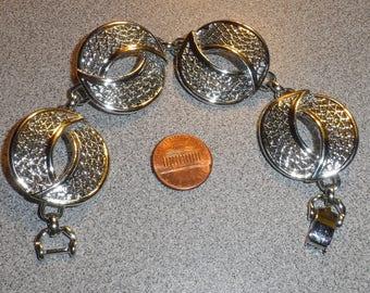 "Vintage 1969 2 PIECE Sarah Coventry ""CRESCENT MOON"" Silver Tone Open Work Metal Mesh Crescent Brooch/Matching Bracelet - *Brooch & Bracelet*"