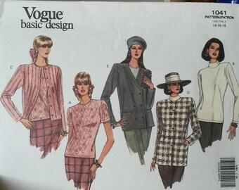 1041 Vintage Vogue Basic Design Pattern size 14-16-18