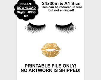 Gold Lips and Lashes Poster, Printable Lashes, Lips Poster, Eyelash Print, Makeup Decor, Beauty Print, Lip Art, 24x30, A1, Instant Download