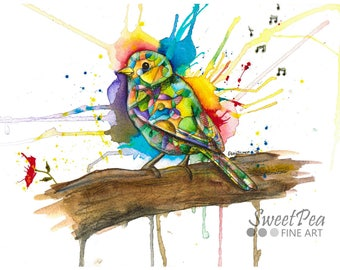 Bird art print, rainbow bird watercolor print, abstract art, modern art, contemporary art painting, nature, animal print