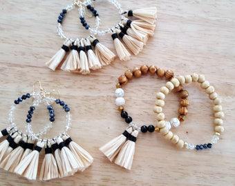 B217 Set of two Bracelets - Tassel Bracelet- Wooden Bracelet  - Friendship Bracelet - Arm Candy - Boho Jewelry - Adara Penina