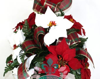 Beautiful XL Christmas Red And White Poinsettias Cemetery Vase Arrangement