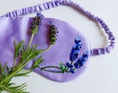 Handmade Silk Eye Mask - 100% Mulberry Silk Filled and Hand-embroidered LAVENDER Silk Charmeuse Cover Plus Lavender Scent Limitedition