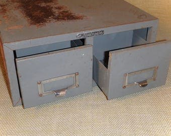 Vintage Industrial Office, Metal Card File Cabinet, Double Drawer, ASCO Steelmaster, Rusty and Gray