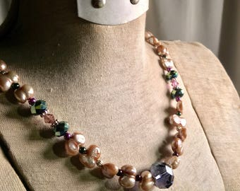 Champagne Baroque Pearl and Crystal Statement Necklace