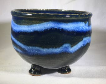 Small Bright blue footed bowl, soup bowl, cereal bowl, chili bowl
