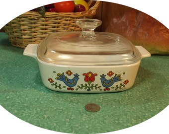 Vintage Corning Ware Country Festival with Lid - 1 Quart - ( A-1-B ) ( A1B ) ~ 1975