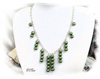 Necklace glass beads Pearl green CO506