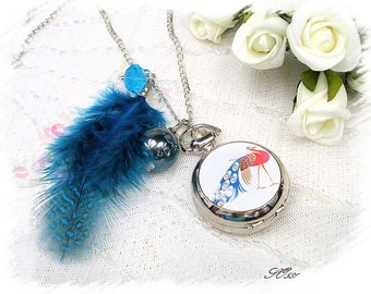 Pocket Watch Silver Peacock feather blue SO581