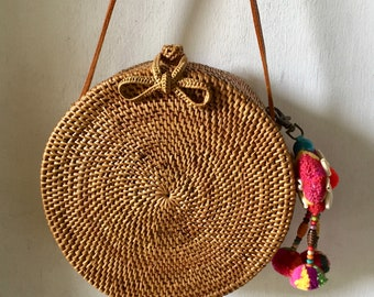 20 Cm Pompon Round Handmade Rattan| Lace kechil bag; Bali bags; Crossbody;Boho bag; Hippie Bags; Made from Bali, Indonesia