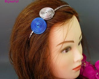 Fancy headband * spiral * blue and silver aluminum wire