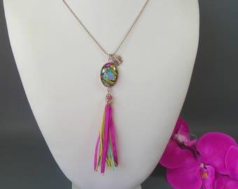 "Fantasy - Cabochon 18X25mm - ""Colored Design"" - chain necklace ball argentee70 cm"