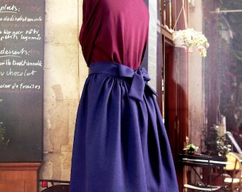 Puffed skirt bow from 34 to 42 plum blue quilted fabric