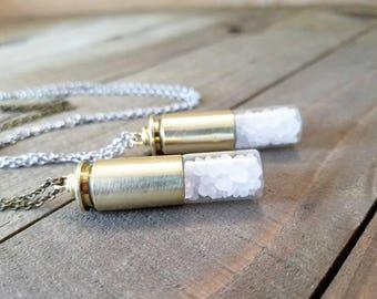 Rock salt bullet necklace - supernatural salt vial - salt bullet - ghost hunter - cosplay accessories - supernatural - rock salt bullet