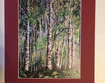 Birch tree painting, Birch tree print, forest painting, woods, landscape painting, Alaska forest, Alaska painting, wall art, alaskan art