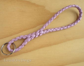 Leather Key Chain Key Ring in Braided Lavender Kangaroo Leather - The Infinity Keychain