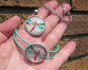 Verdigris cuff bracelet & matched pendant and chain Pastel Rainbow DRAGONFLY glass cabochon.