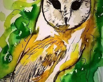Beautiful Barn Owl with Moon Print