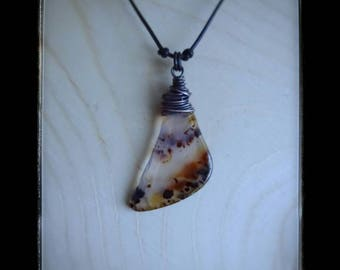 Montana Agate Necklace/Rustic/Copper Wire/Stone Necklace
