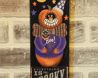 Hand Painted Halloween Canvas..Mixed Media Halloween Canvas..Halloween Decor..Halloween Art..Primitive Halloween Art..Halloween Folk Art