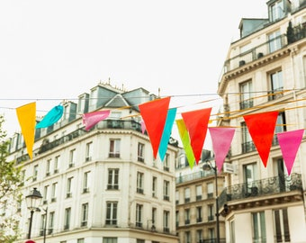 Paris Photography Print - Flags in the Marais - Paris Wall Art - Colorful Photography Print