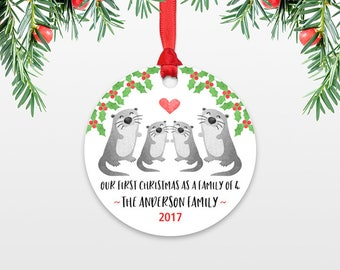Family Christmas Ornament New Parents Gift Our First Christmas Ornament Family of 4 Four Otter New Baby Personalized Christmas Ornament
