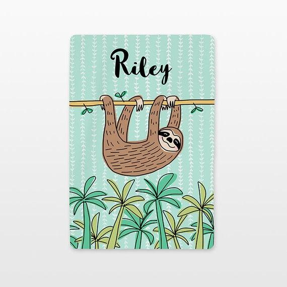 Sloth Personalized Baby Blanket Name Custom Gender Neutral Baby Boy Baby Girl Minky Fleece New Baby Gift Idea Tropical Animal Mint Green
