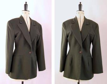 Vintage 1980s Norma Kamali OMO khaki green wool fitted blazer jacket - 80s jacket - 80s blazer - Tailored fitted jacket - 80s Power dress