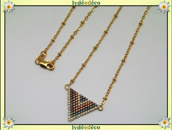 Necklace plated 18 k gray iridescent copper beige and gold woven triangle chevron chain ball