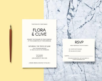 DIY Wedding Invitation // Modern and Contemporary Wedding Invitation Suite // Printable Wedding Invites // Editable PDF Template