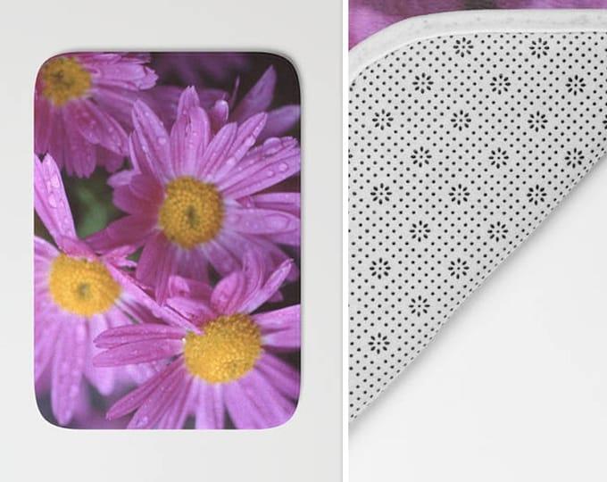 Purple Flower Bath Mat -  Shower Mat - Bathroom Mat -  Made to Order