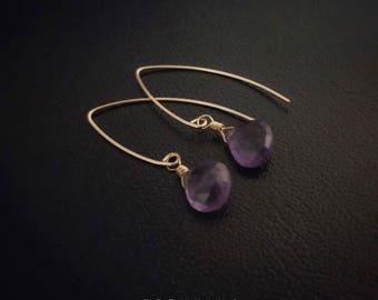 14K Gold Filled Amethyst Teardrop Earrings [Grade 5A]