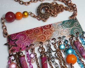 Necklace Gypsy jewelry baroque metal, ink and stones necklace • • • fine jewelry Rainbow boho