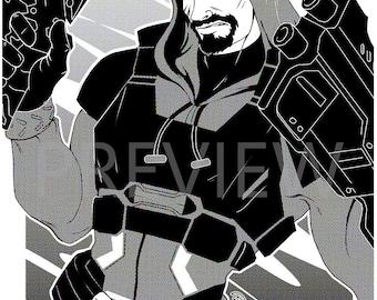 Reaper/Gabriel Reyes - Halftone original A4 print - PhaseChan
