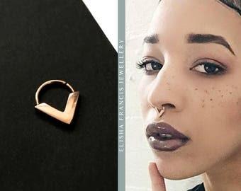 HONOVI | Real Rose Gold Septum Ring | Septum Jewellery | Gold Septum | Gold Nose Ring | Bohemian Septum | Septums | 14/16/18 Gauge Septum
