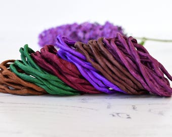 Hand dyed Silk Cords  - lot of 6 - purple brown bordeaux silk cords - jewelry cord