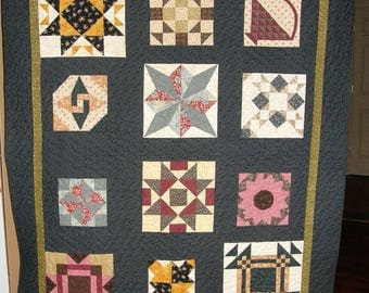 Quilted Throw, Throw Quilt, Green Quilted Throw, Scrappy Patchwork Quilt, Sampler Quilt, Patchwork Throw Quilt, Lap Quilt, Quiltsy Handmade