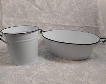 2 white enamel buckets