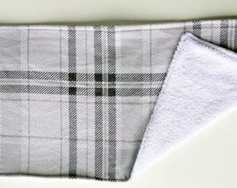Gray Plaid Baby Burp Cloth, Snuggle Flannel Burp Cloth, Large Burp Cloth, Burp Rag, Baby Item, Baby Accessory
