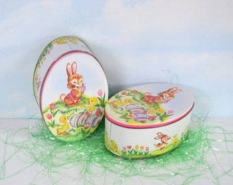 Pair Daher Egg-shaped Easter Tins, Cute Easter Bunny, Colorful Easter Eggs, Bright Spring Flowers, Yellow Chicks, 2 Oval Daher Tins, England